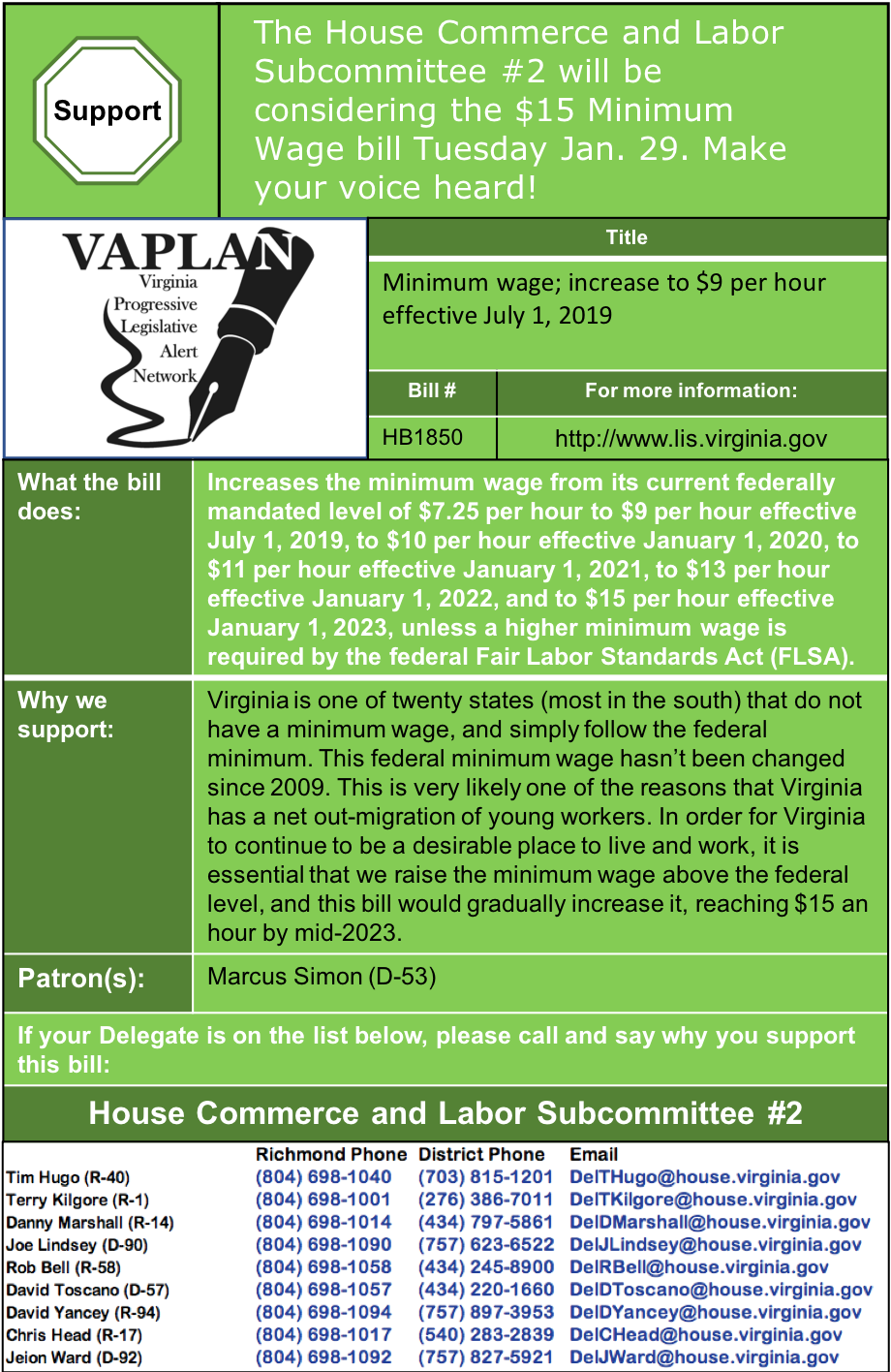 ALERT: $15 minimum wage bill being heard in House Commerce & Labor Subcommittee #2 Tuesday Jan. 29!