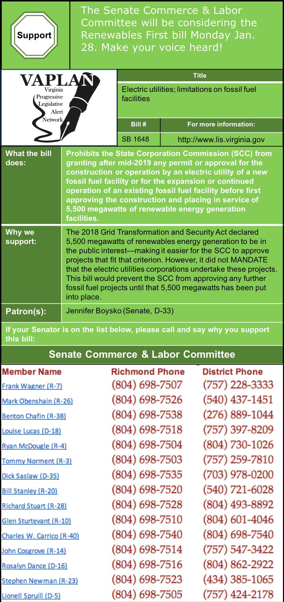 ALERT: Senate Commerce & Labor to consider Renewables First bill on Monday Jan. 28.