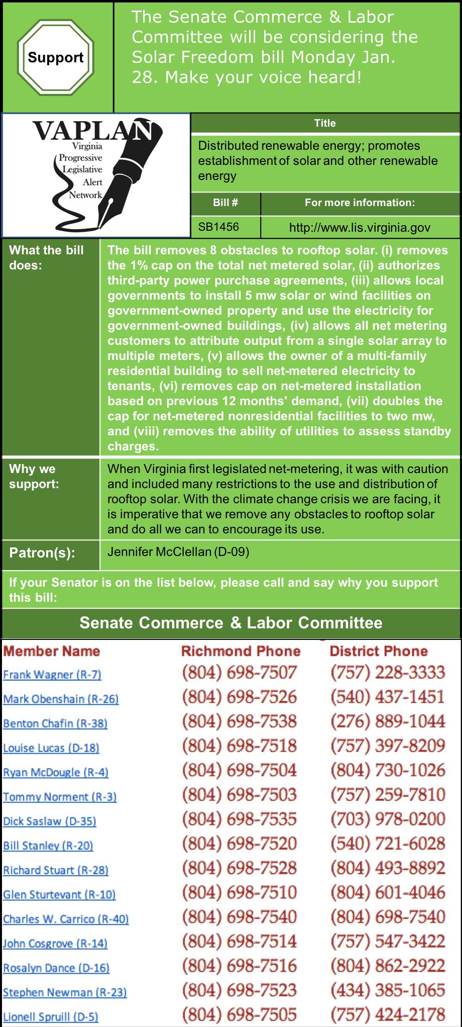 ALERT: Senate Commerce & Labor to consider Solar Freedom bill, Monday Jan. 28.
