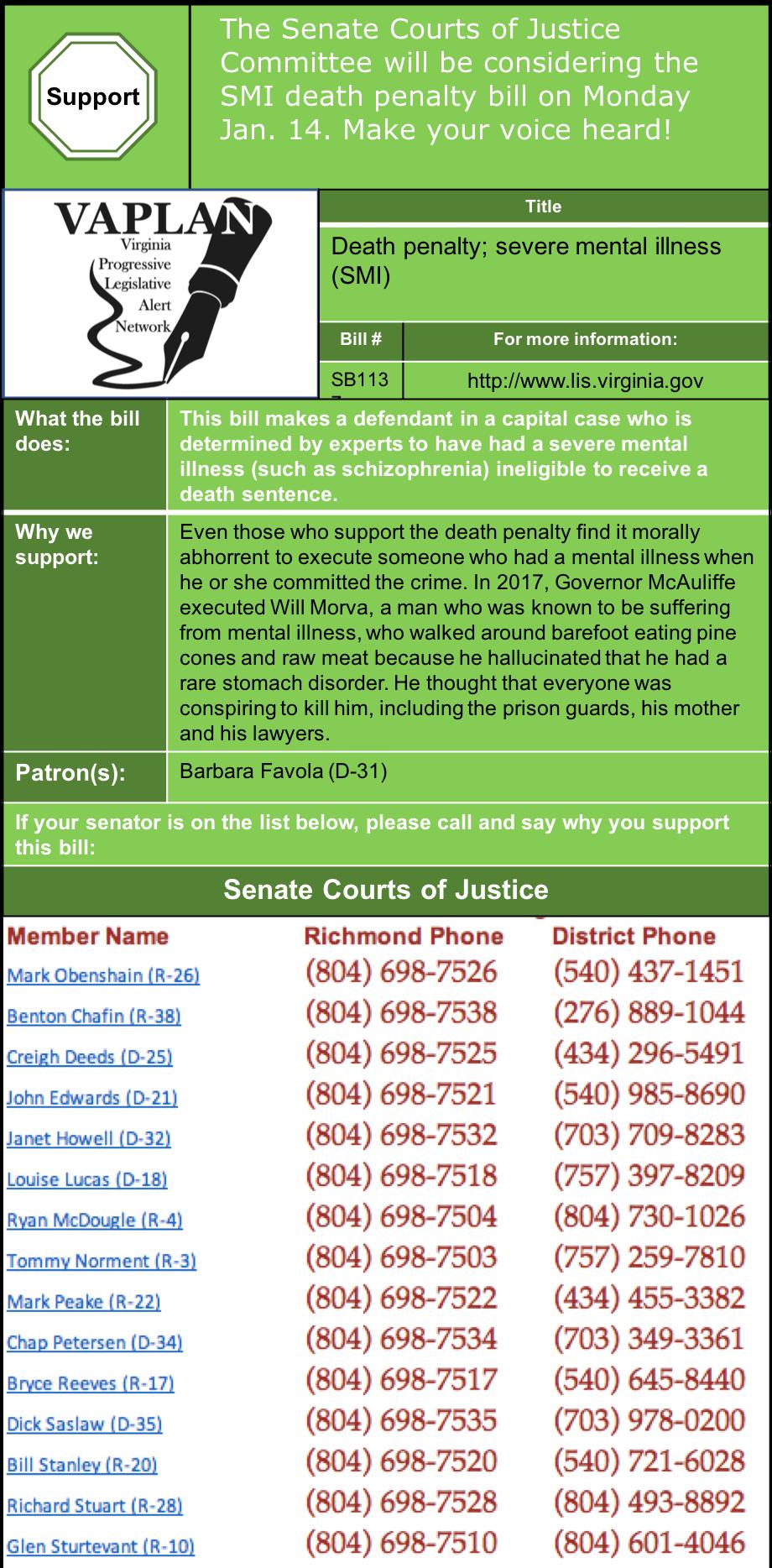 ALERT: Senate Courts of Justice considers death penalty SMI bill