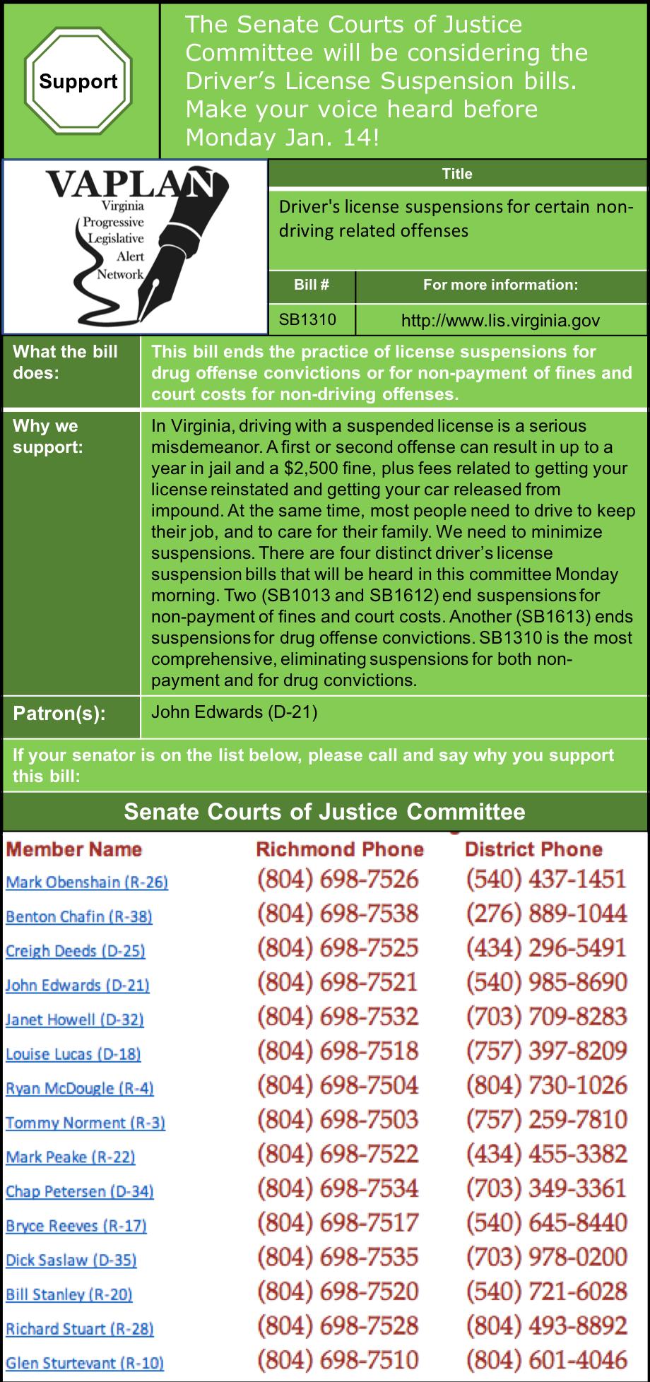 Alert: Senate Courts of Justice Driver's License Suspensions