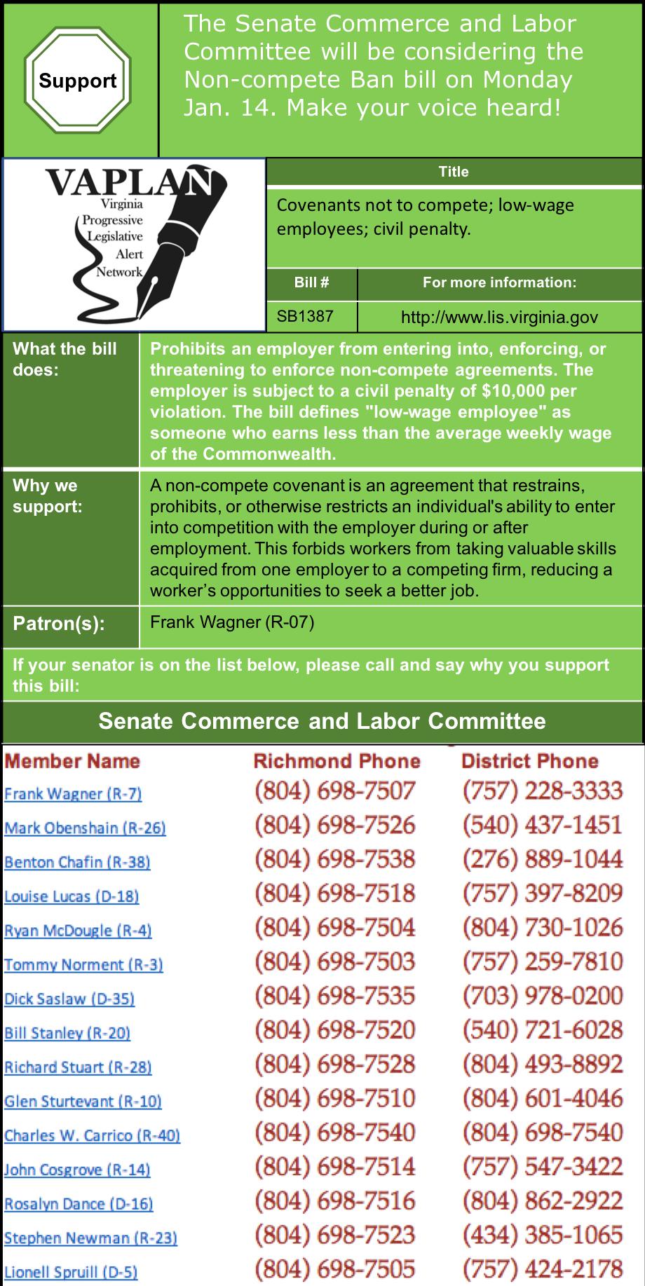 ALERT: Support Ending Non-Compete Covenants in Senate Commerce & Labor